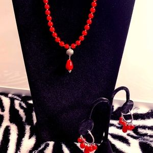 Cezanne Red Jasper necklace and earring set
